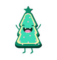 cookie christmas tree cheerful card vector image vector image