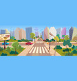 crossroad and cityscape at big modern city cartoon vector image vector image
