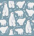 cute polar bear seamless pattern vector image vector image