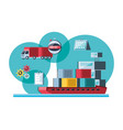 delivery service with ship cargo vector image vector image