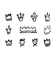doodles set of hand drawn crowns vector image