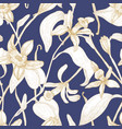 elegant seamless pattern with blooming vanilla vector image vector image