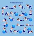 fitness exercises with cartoon girl in blue and vector image vector image