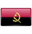 Flags Angola in the form of a magnet on vector image vector image