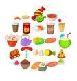 fried food icons set cartoon style vector image vector image