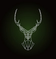 geometric deer head on dark green background vector image