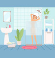 girl takes shower bathroom interior hygiene vector image