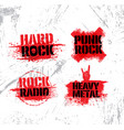 heavy music rough grunge design elements on vector image