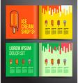Ice cream brochure design Menu for ice cream shop vector image vector image