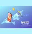 isometric web banner smartphone transferring vector image vector image