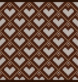 knitted seamless pattern with hearts vector image vector image