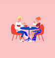 man and woman eat ramen on date interior print vector image vector image