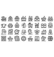 masseur icons set outline style vector image vector image