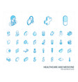 medicine and healthcare isometric line icons 3d vector image vector image