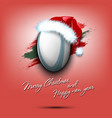 new year and rugby ball in santa hat vector image