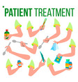 patient treatment hand set holding pills spoon vector image