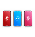 pinterest behance dribbble logo on iphone screen vector image
