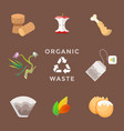 recycle organic waste management set vector image