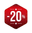 Sale twenty percent off banner red patch vector image vector image