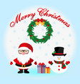 santa claus and snowman with gifts icon vector image vector image