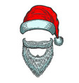 santa claus hat and beard christmas theme design vector image