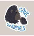 save animals tagline sticker cartoon vector image vector image