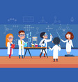 school kids in chemistry lab children in science vector image vector image