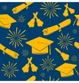 Seamless graduations backdrop of graduation caps vector image