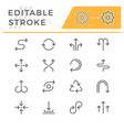 set editable stroke line icons arrows vector image