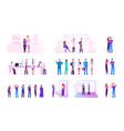 set male and female characters during covid19 vector image