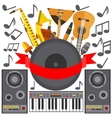 Set of musical instruments speakers music plate vector image