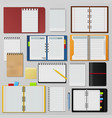 set of open realistic notebooks clean pages diary vector image vector image