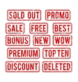 Sold out and promo bonus sale stamps vector image
