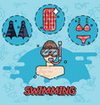 swimming flat concept vector image vector image