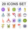 types of funny microbes cartoon icons in set vector image vector image