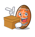 with box rugby ball character cartoon vector image