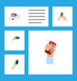icon flat smartphone set of holding keep phone vector image