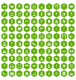 100 beauty and makeup icons hexagon green vector image vector image