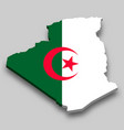 3d isometric map algeria with national flag