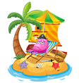 A pink monster in the island vector image vector image