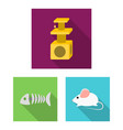 an animal cat flat icons in set collection for vector image