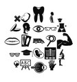 anatomy icons set simple style vector image