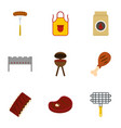 bbq party icons set flat style vector image