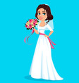 beautiful bride holding bouquet flowers vector image vector image