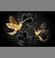black and gold hummingbird vector image