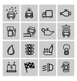 black auto icons set vector image