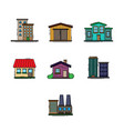 buildings color set vector image vector image
