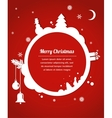 christmas card with snowman present and christmas vector image vector image