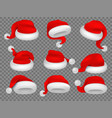 christmas santa claus hats winter xmas holiday vector image vector image