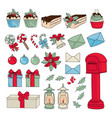 christmas set new year color vector image vector image